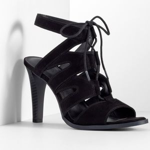 Simply Vera Wang Black Lace Up Heels